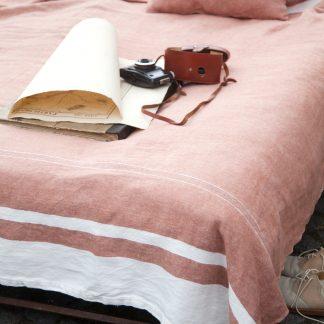 Tshoalstone sandy pink linen bedspread
