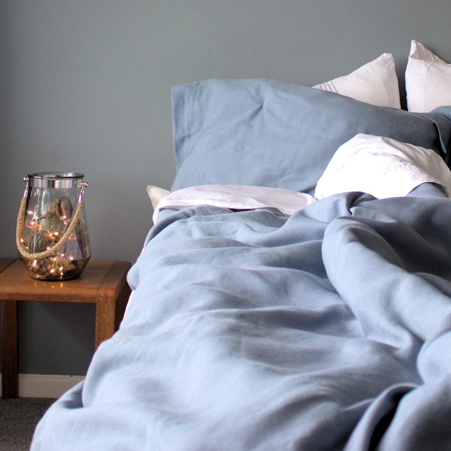 Luxury Pale Blue Organic Belgian Linen Duvet Cover Set