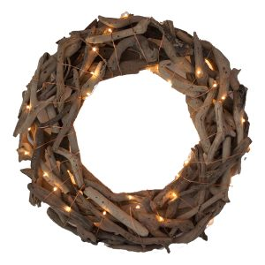 Natural driftwood wreath with string fairy lights TheCoastalCompany.com
