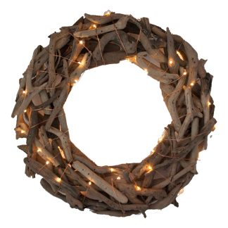 driftwood wreath fairy lights